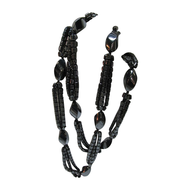 VINTAGE Long 28 Inch Hematite Beaded Necklace Beautiful