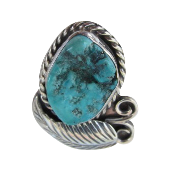 VINTAGE  Sterling and Turquoise Navajo Ring  Size 6