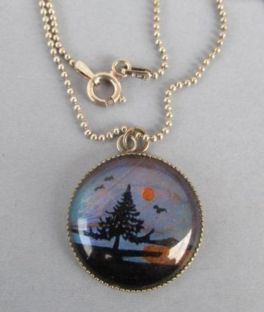 VINTAGE  Sterling  Reverse Painting with Butterfly Wing Back Pendant