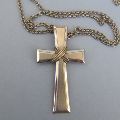 VINTAGE  Sterling Simple Cross with Ties  and 23 Inch Sterling Chain