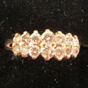 VINTAGE Two Row Anniversary Ring   14K  14Diamonds  Nice Ring