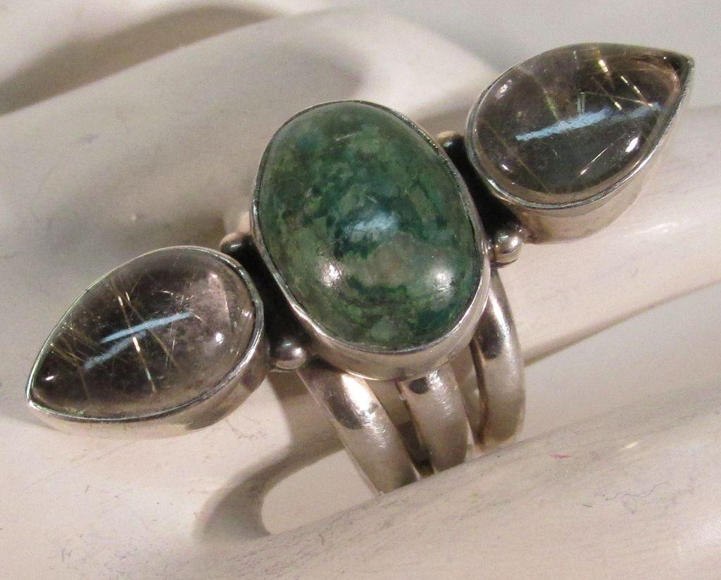 VINTAGE  Large Impressive Turquoise and Rutilated Quartz  Sterling  Ring