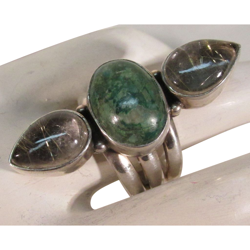 VINTAGE  Large Impressive Turquoise and Rutilated Quartz  Sterling  Ring