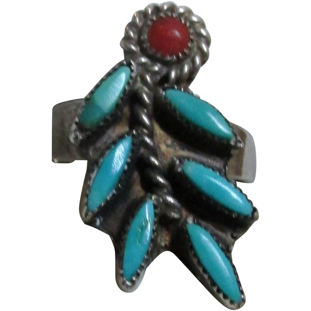VINTAGE Zuni Sterling  Needle-point Ring with Coral Accent  Size 6 1/4