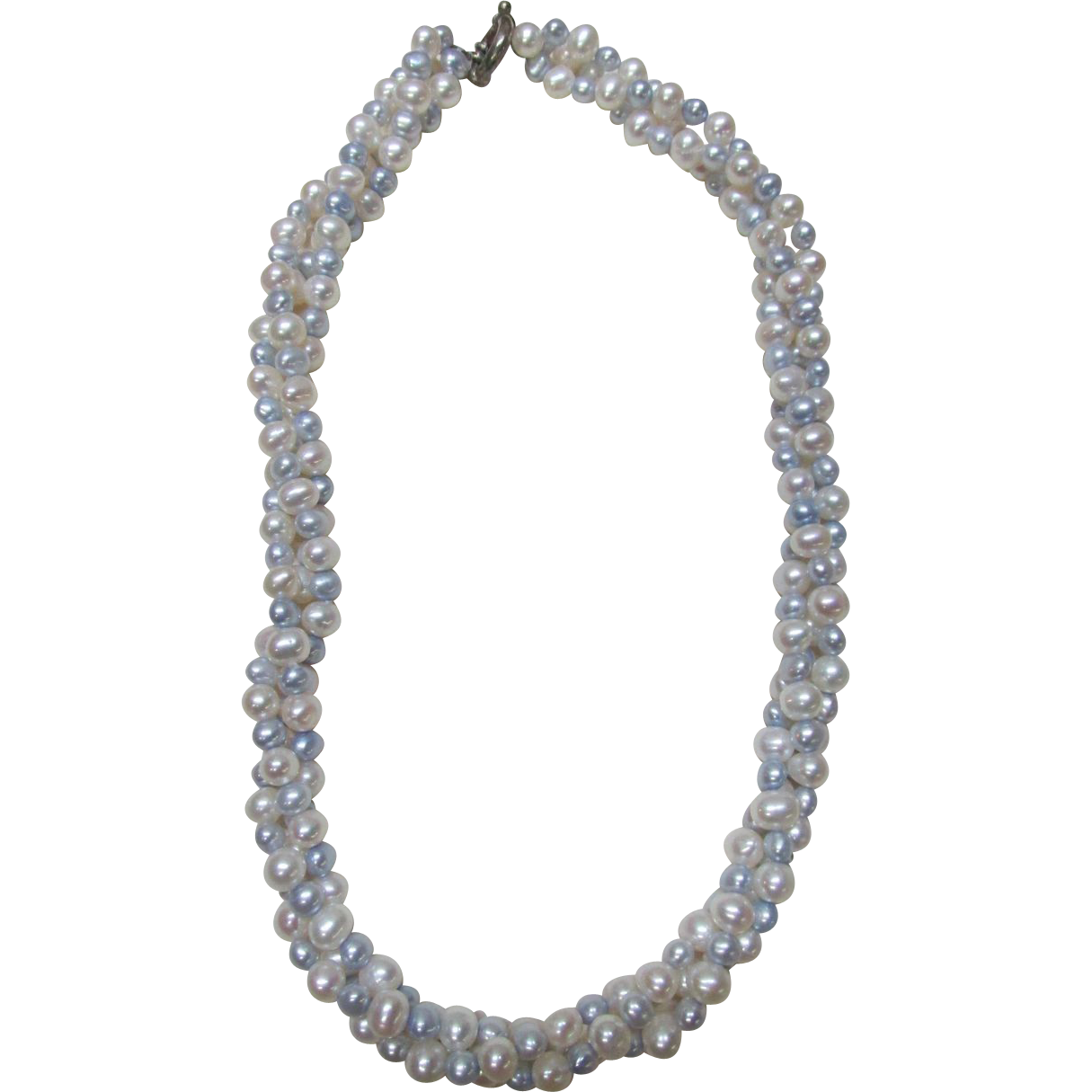 VINTAGE Twisted Choker of Fresh Water Pearls Three Strands