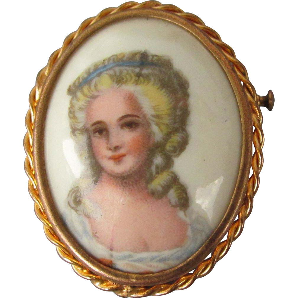 VINTAGE Brooch from Limoge, France Pretty Girl