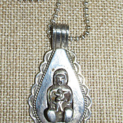 VINTAGE Storyteller Doll Pendant and 30 Inch Sterling Beaded Chain