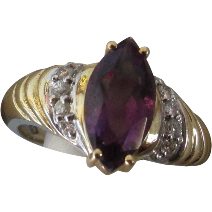 VINTAGE 14k  Yellow Gold  Amethyst  Marquise  Ring 2CTW  Size 7 1/4