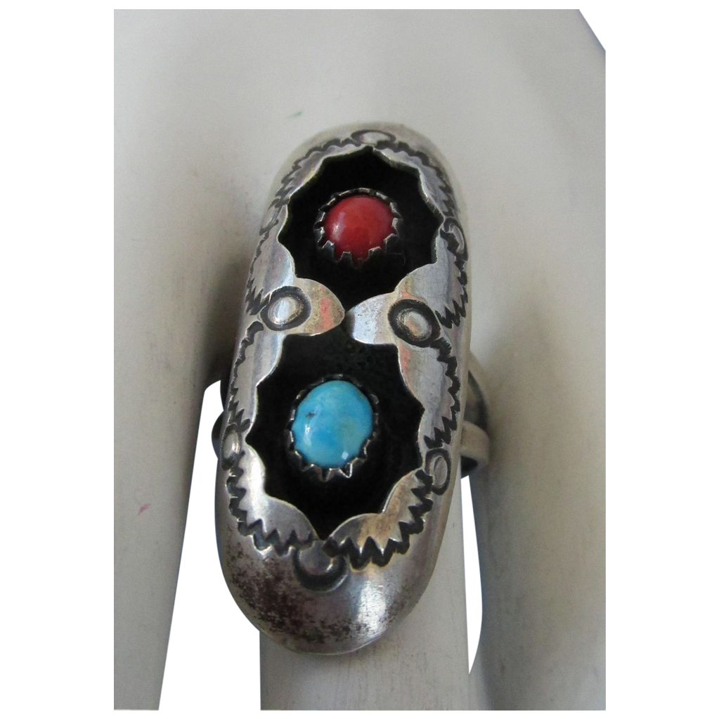 VINTAGE Sterling Shadow Box Ring with Two Gems Turquoise and Coral