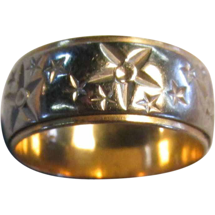 VINTAGE  Yellow Gold with White Gold Overlay Stars Stars!  Size 7 1/2