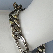 VINTAGE Sterling 8 Inch Heavy Made in Italy  Flat Figaro  Bracelet