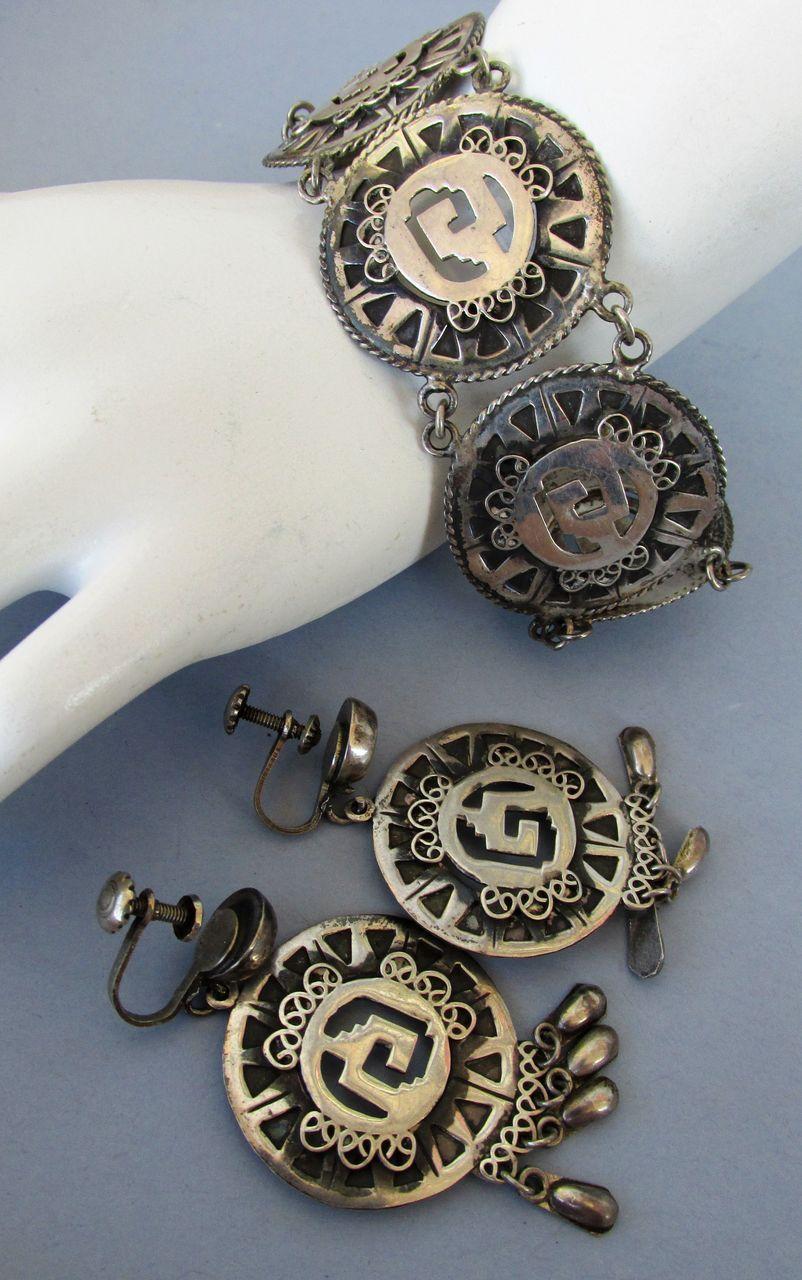 VINTAGE  Jose' Anton  Mexican Silver Pre Eagle Bracelet and Earrings
