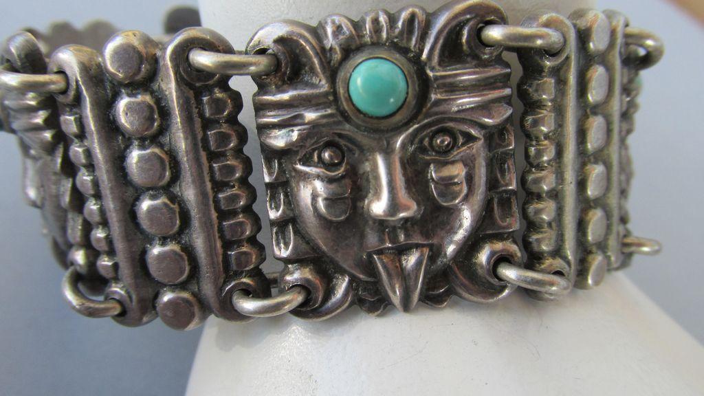 VINTAGE  Early Pre-Eagle Aztec Mexican Bracelet  Heavy!