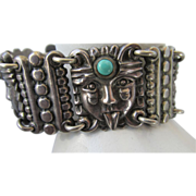 VINTAGE  Early Pre-Eagle Aztec Mexican Bracelet  Heavy!