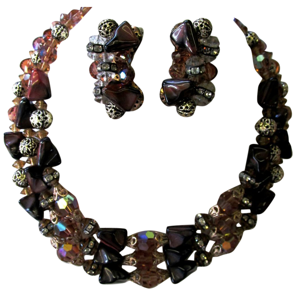VINTAGE  Three Strand Brownish Necklace with Clip Earrings