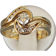 VINTAGE 70'S Wedding Set 14K Diamonds and Yellow Gold