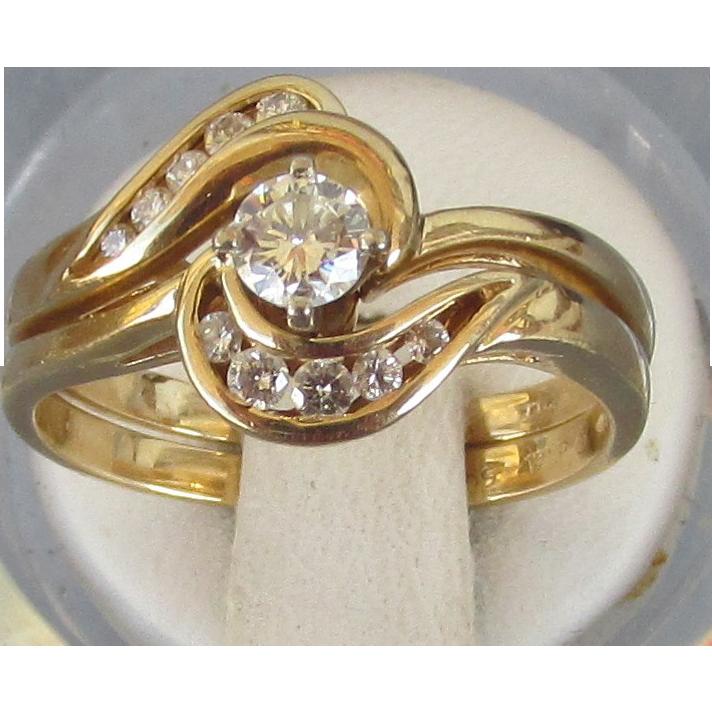 VINTAGE 70'S Wedding Set 14K Diamonds and Yellow Gold
