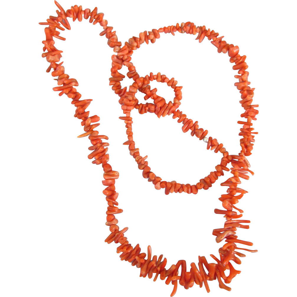VINTAGE Coral 30 Inch Necklace Recently Restrung