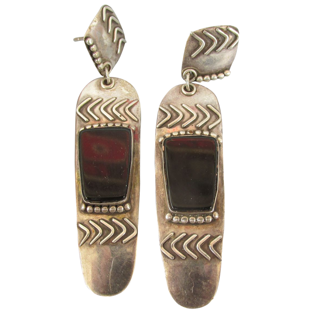 VINTAGE Mexican Sterling Long Earrings Onyx  Setting