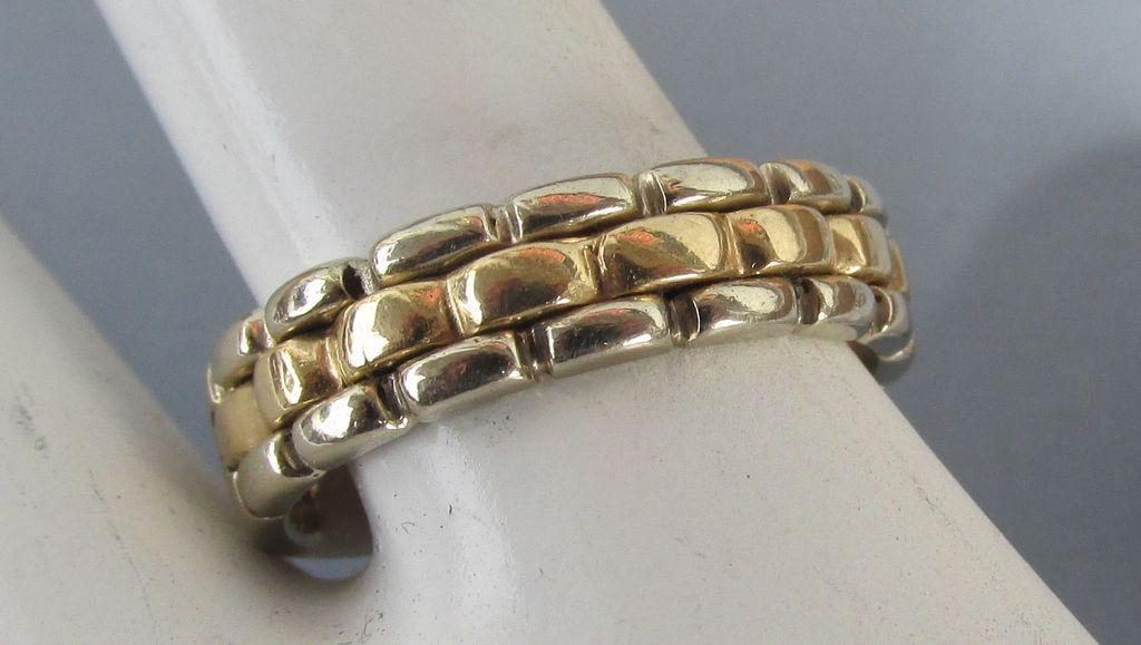VINTAGE Two Color Woven Front 14K  Size 8 Unisex  Wedding Ring