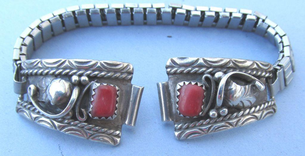 VINTAGE Navajo Made Watch Band with Coral