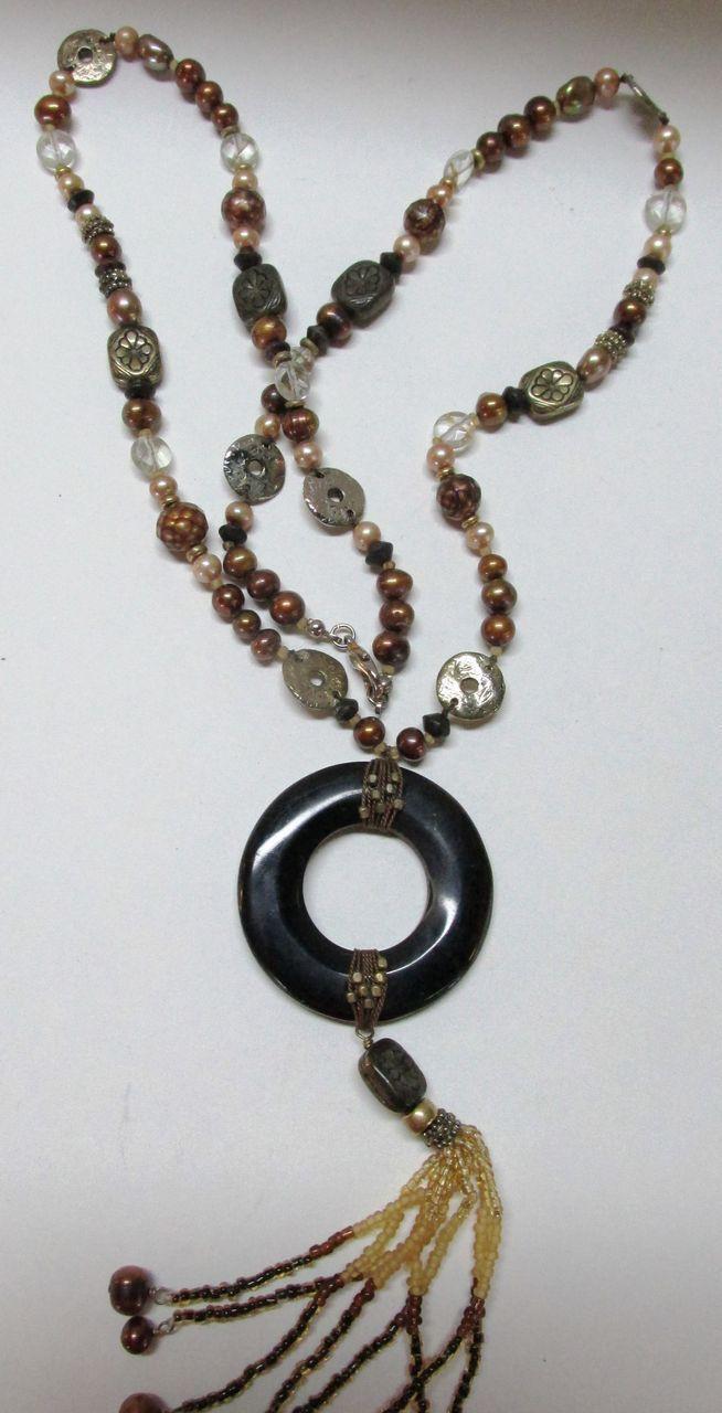 VINTAGE Long 80's Necklace Many Gems   39 Long