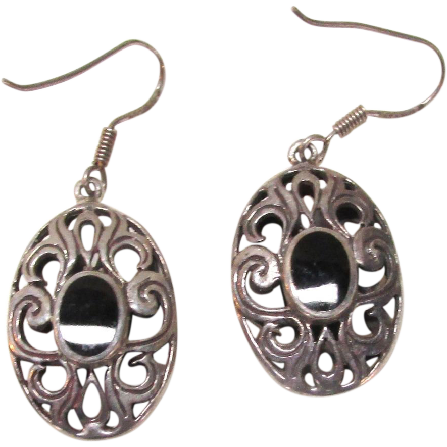 VINTAGE Sterling Hook Earrings With Onyx Sets