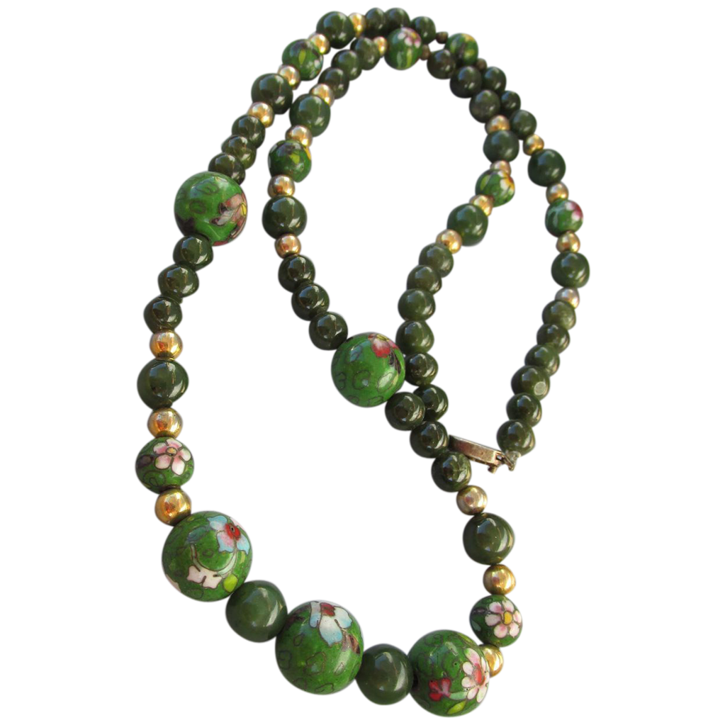 VINTAGE  Cloisonne' and Jadeite Beads with Gold-tone Necklace Classic