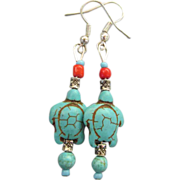 VINTAGE Turquoise Turtles Earrings