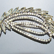 VINTAGE Clear Bright Rhinestone Leaf   Large