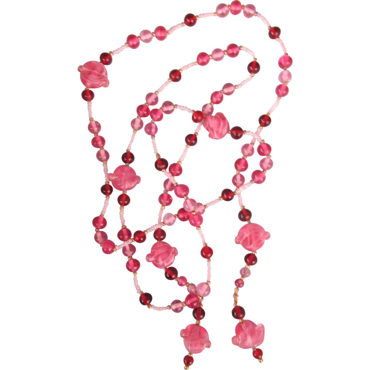 VINTAGE 48 Inch Glass Bead Lariet Lovely Pink Necklace