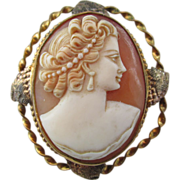VINTAGE Italian Hand Made Shell Cameo Gold Filled