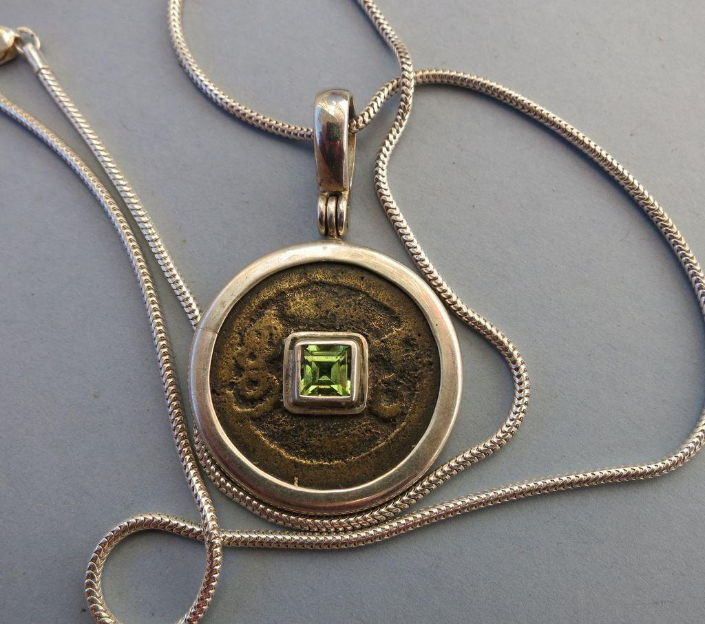 VINTAGE Sterling Ring and Peridot Gem on Snake Necklace  August Birth Gem