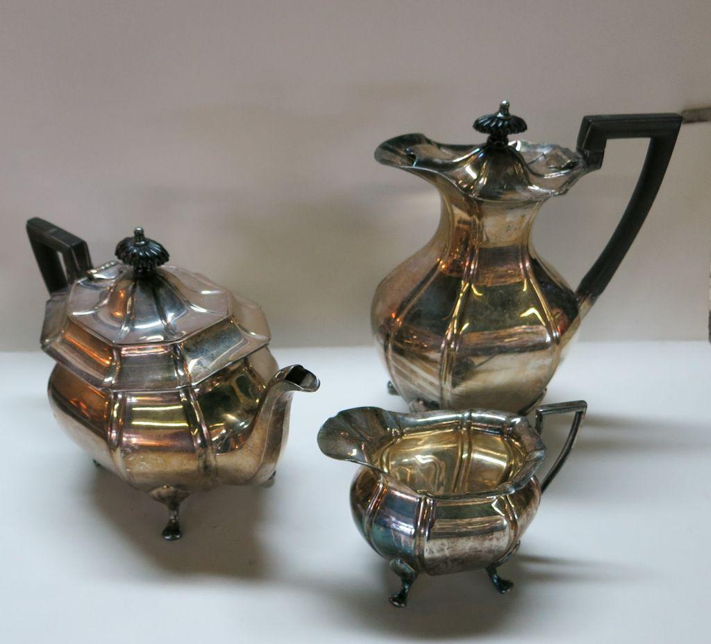 VINTAGE Three Piece Silver Plate Tea and Coffee Set with Creamer