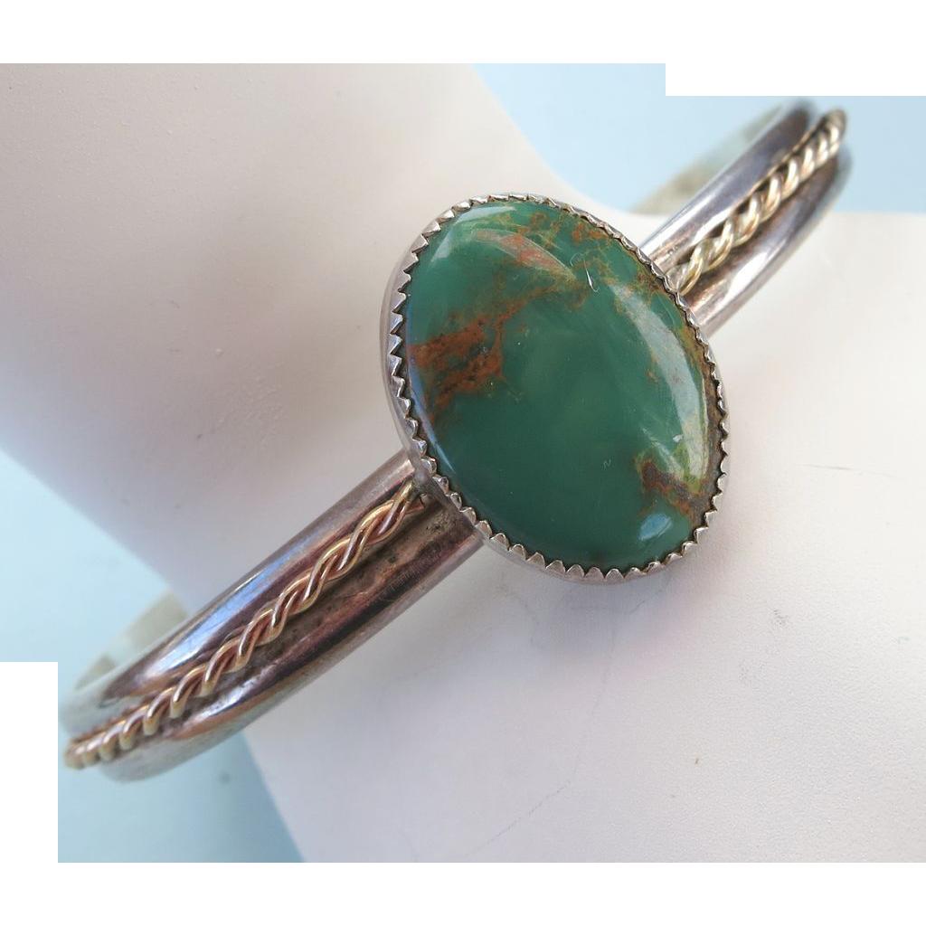 VINTAGE Sterling Signed Green Turquoise Bracelet