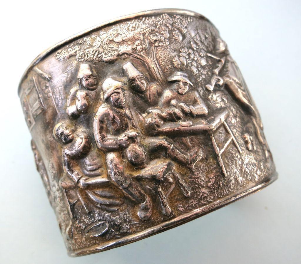 VINTAGE Danish Silverplate Repousse Cuff or Bracelet