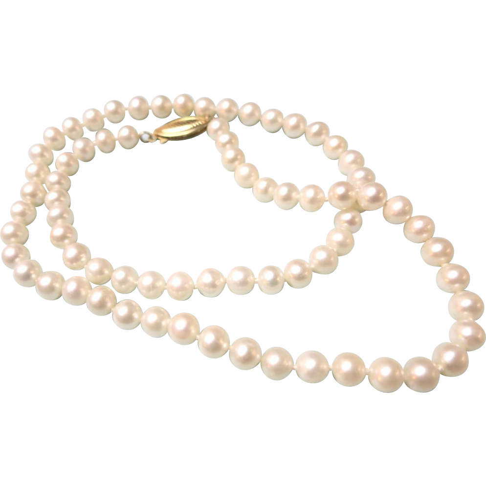 VINTAGE Freshwater Pearls 6mm Knotted and 14K Closure