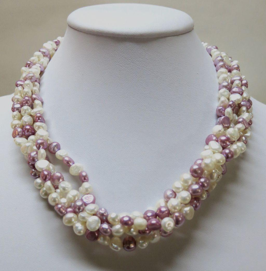 VINTAGE Freshwater Pearls Twisted Choker  Lavender and Cream