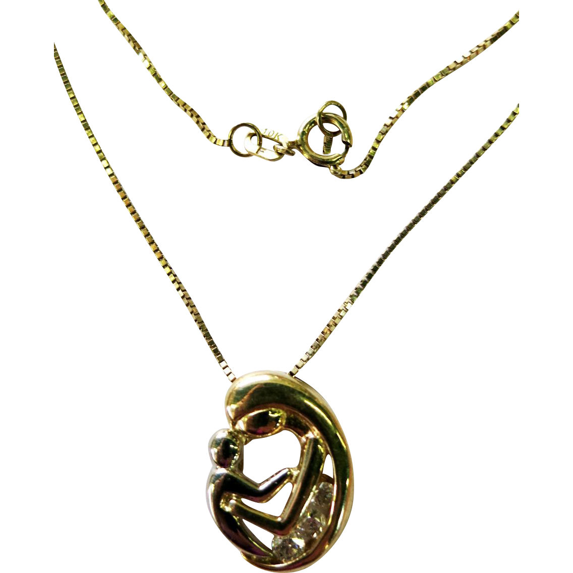 VINTAGE   10K Gold  Mother and Child and 10K Gold Chain 3 Diamonds