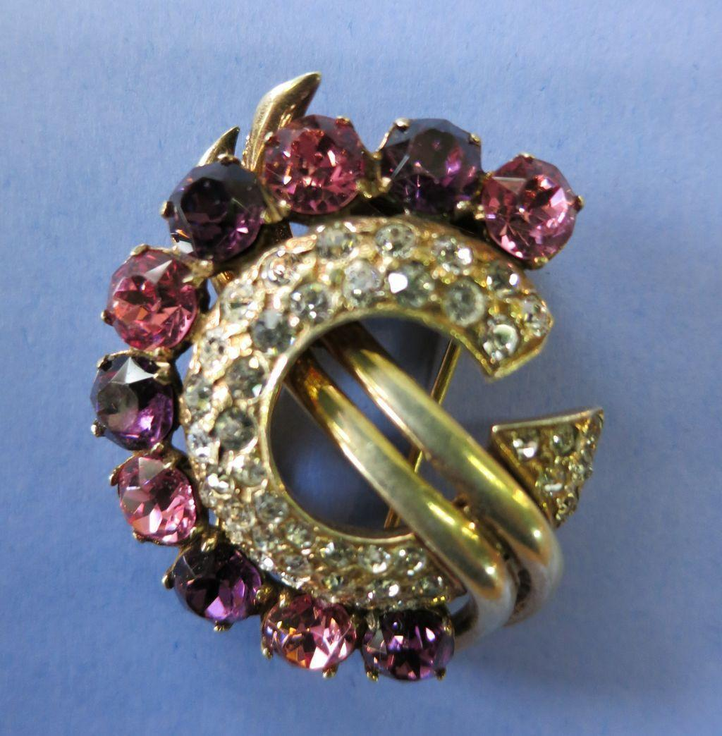 VINTAGE Eisenberg Fur Clip  (one small rhinestones professionally replaced.)