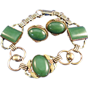 VINTAGE Gold-filled Bracelet with Jade and Clip Earrings
