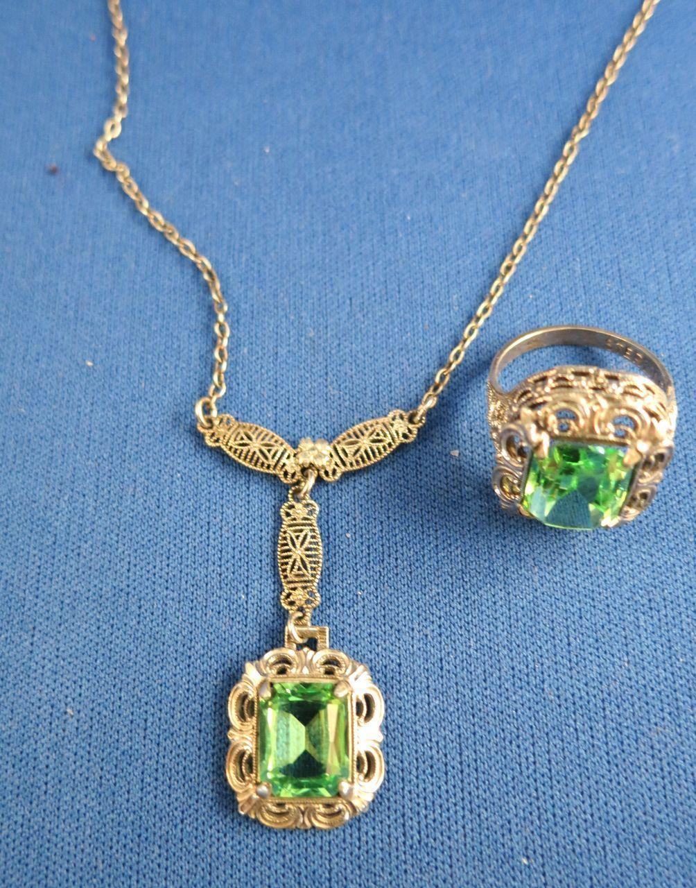 VINTAGE Sterling Necklace and Ring Green Stone  Filgree ring and necklace.  Ring size 5
