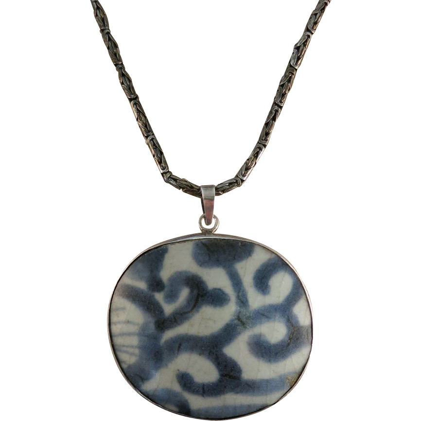 VINTAGE Chinese Pottery Shard Necklace with Sterling Chain