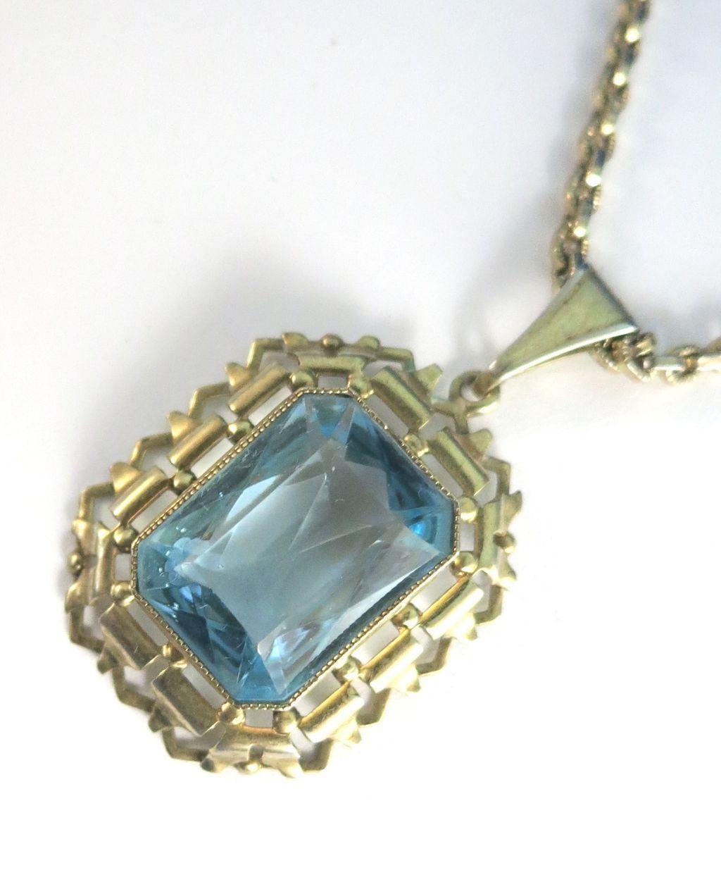 VINTAGE Whiting and Davis Chain and Aquamarine Pendant