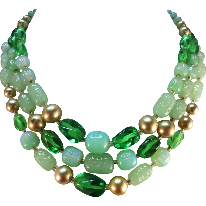 VINTAGE Granny's Three Row Necklace Mostly Glass and few Pearls