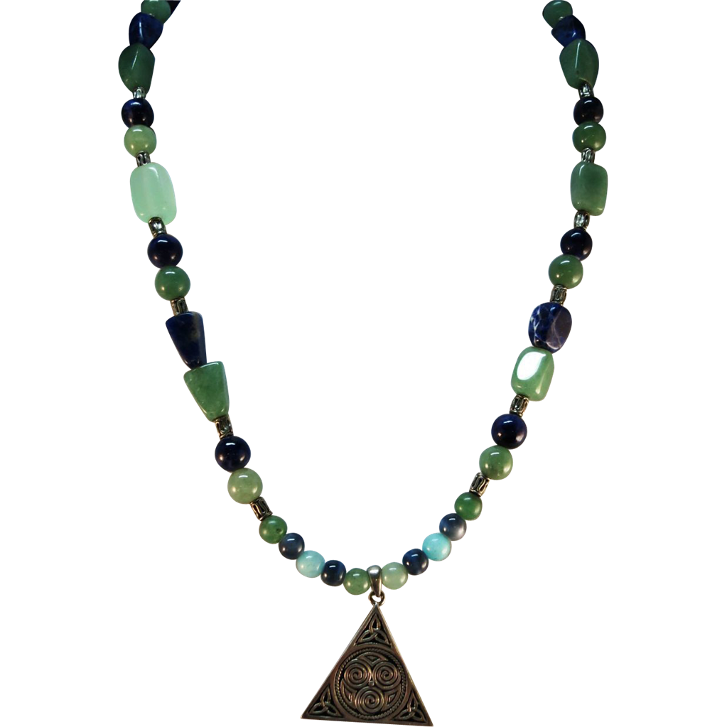 VINTAGE  Necklace  of Lapis and Chrysoprase  with Sterling Pendant.