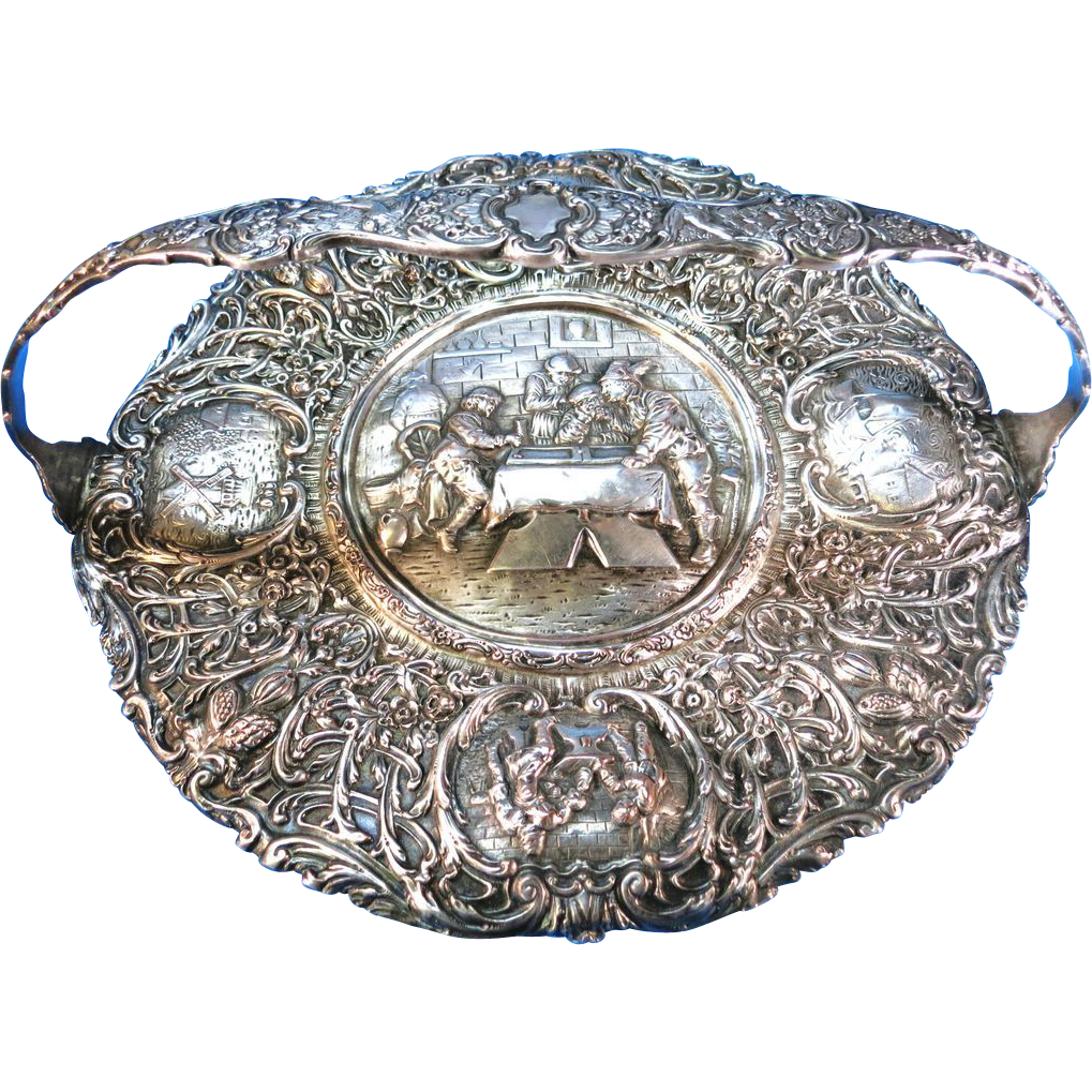 VINTAGE Repousse Barbour Silver Flat Basket   12 1/2 Inches
