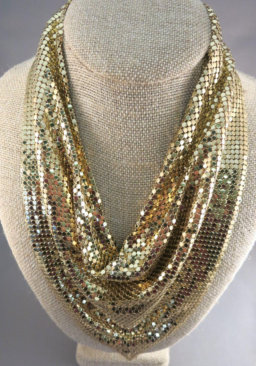 VINTAGE  Whiting and Davis  Liquid Scarf  18x13   3 inch extender chain.