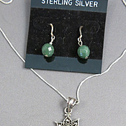 VINTAGE  Chrysoprase  and Sterling Necklace and Earrings