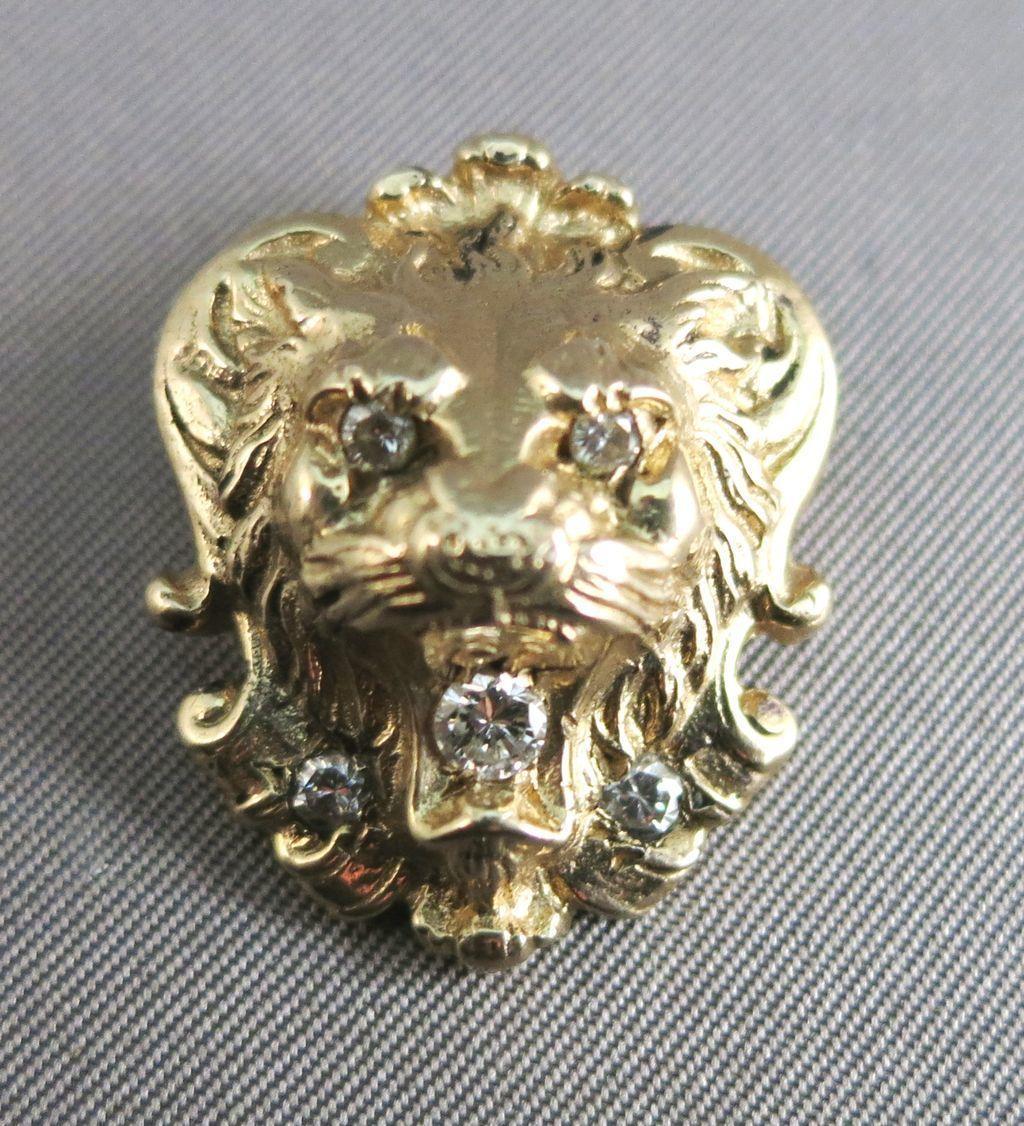 VINTAGE lion Pendant with 5 Diamonds  14K